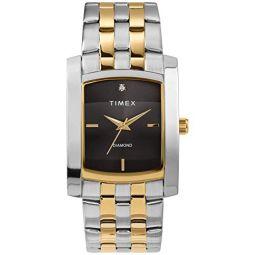 Timex 남성용 드레스 아날로그 33mm 스테인리스 스틸 팔찌 시계 정품 다이아몬드 포함