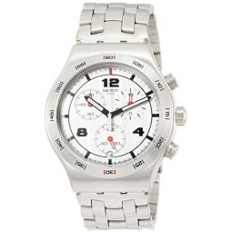 Swatch Mens Silver Again YVS447G Stainless-Steel Swiss Quartz Fashion Watch: Clothing