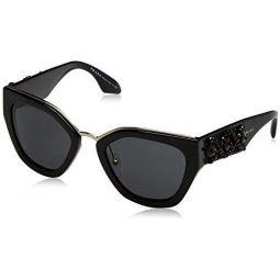 Prada PR10TS 1AB5S0 Black PR10TS Square Sunglasses Lens Category 3 Size 52mm