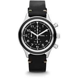 Fossil JR1440 Mens Compass Leather Band Black Dial Chronograph Watch