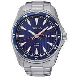 Seiko Mens Solar Powered Watch with Stainless Steel Strap, Silver, 20 (Model: SNE391P1)