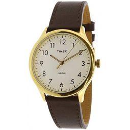 Timex Mens Easy Reader TW2T71600 Gold Leather Analog Quartz Fashion Watch