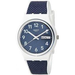 Swatch Essentials Swiss Quartz bimaterial Strap, White, 16 Casual Watch (Model: GW715): Clothing