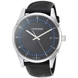 Calvin Klein Mens Stainless Steel Swiss Quartz Watch with Leather Strap, Black, 20 (Model: KAM211C1)