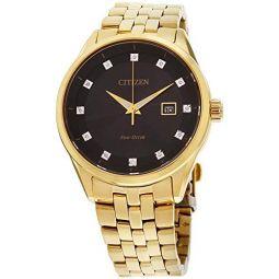 Mens Citizen Eco-Drive Corso Yellow Gold Diamond Accent Watch BM7252-51G