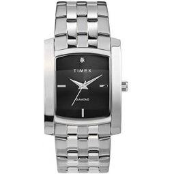 Timex Mens Dress Analog 33mm Stainless Steel Bracelet Watch with Genuine Diamond