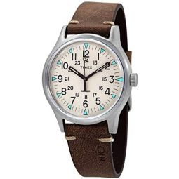Timex MK1 Quartz Beige Dial Brown Leather Mens Watch TW2R96800
