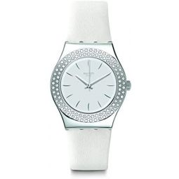 Swatch Swiss Quartz Leather Strap, White, 16 Casual Watch (Model: YLS217)