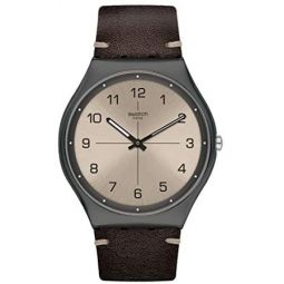 Swatch st. Steel Quartz Leather Strap, Brown, 16 Casual Watch (Model: SS07M100)