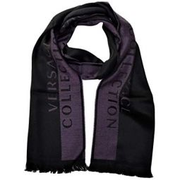 Versace Collection Mens Wool Scarf Stripe PURPLE BLACK