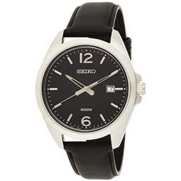 SEIKO-Quartz Gents Leather Strap Watch