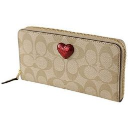 Coach Accordion Zip Wallet In Signature Canvas With Heart