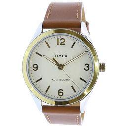 Timex Mens Biarwood TW2T67000 Gold Leather Japanese Quartz Fashion Watch