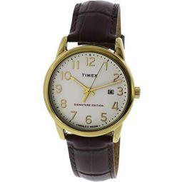 Timex Mens Easy Reader TW2R65100 Gold Crocodile Leather Quartz Fashion Watch