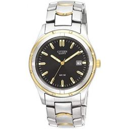 Citizen Mens Two-Tone Stainless Steel Watch with Black Dial: Clothing