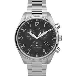 Timex Mens Waterbury Traditional Chronograph 42mm Stainless Steel Analog Quartz Leather Strap