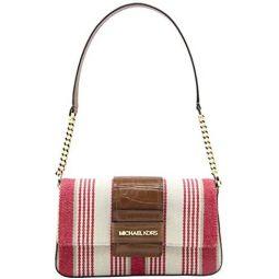 Michael Kors Womens Coral Reef Sage Medium Flap Shoulder Bag Multi Stripe Canvas Leather, Style 35S0GWZL6C