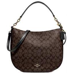 Coach Elle Hobo Shoulder Handbag In Signature Canvas Im/Brown Black