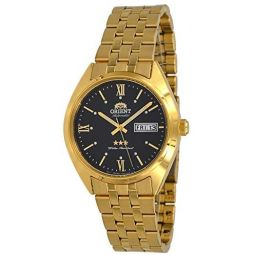Orient RA-AB0E11B Mens 3 Star Gold Tone Stainless Steel Black Dial Day Date Automatic Watch