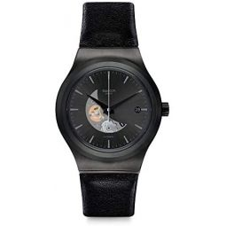 Swatch Mens Stainless Steel Automatic Watch with Leather Strap, Black, 22 (Model: YIB404)