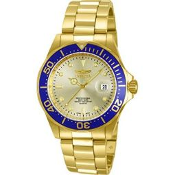 Invicta 886678147854 Mens 14124 Pro Diver Quartz 3 Hand Gold Dial Watch