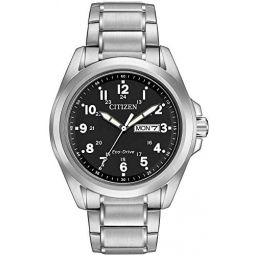 Citizen Wr100 Men Solar Powered Watch with Black Dial Analogue Display and Silver Stainless Steel Bracelet Aw0050-82E