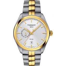 Tissot T101.452.22.031.00 Mens Watch PR 100 Gent Dualtime Silver/Gold 39mm Stainless Steel