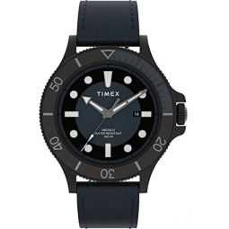 Timex Mens Allied Coastline 43mm Analog Quartz Leather Strap, Blue, 20 Casual Watch (Model: TW2U10600)