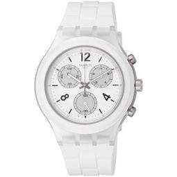 Swatch Elesilver Chronograph Quartz White Dial Mens Watch SVCK1007: Clothing