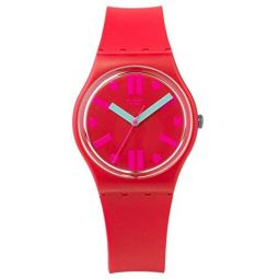 Swatch Mens Rossofino GR170 Red Rubber Swiss Quartz Fashion Watch
