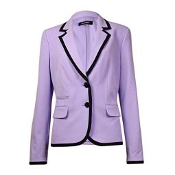 Nine West Womens Contrast Trim Button Front Blazer (10, Lilac/Black)