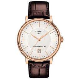 Tissot Carson T122.407.11.031.00 POWERMATIC 80 Rose Gold Brown Leather Automatic Watch: Clothing