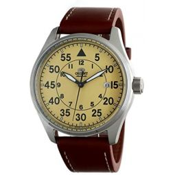 Orient Flight Sports Automatic Yellow Dial Brown Leather Watch RA-AC0H04Y