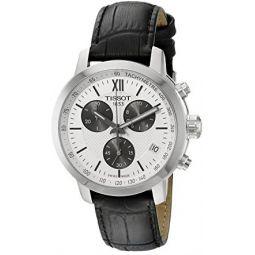 Tissot Mens T055.417.16.038.00 Prc 200 Silver Dial Black Leather Strap Chronograph Swiss Quartz Watch
