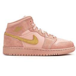 Jordan Nike Mens Air 1 MID SE Coral Stardust/Coral Stardust/Club Gold 852542-600