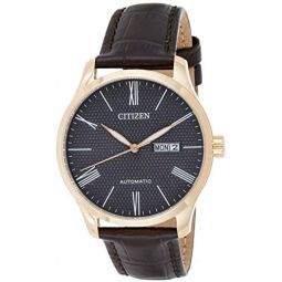 Citizen Mens NH8353-00H Gold Leather Automatic Dress Watch