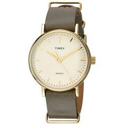 Timex Unisex TW2P98500 Fairfield 37 Olive Leather Slip-Thru Strap Watch