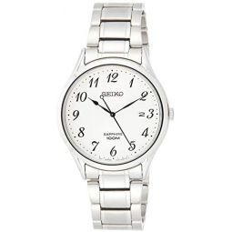 Seiko Mens SGEH73 Silver Stainless-Steel Japanese Quartz Dress Watch