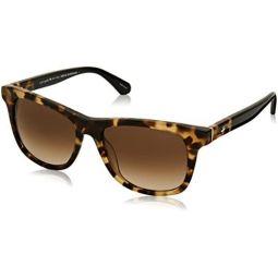 Kate Spade 여성용 Charmine/s 직사각형 선글라스, 하바나 블랙, 53 mm