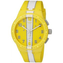 Swatch Unisex SUSJ100 Amorgos Analog Display Quartz Yellow Watch: Swatch: Clothing