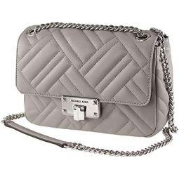 Michael Kors Peyton Medium Quilted Vegan Faux Leather Medium Shoulder Flap Bag Pearl Grey