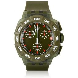 Swatch Mens SUIG401 Rubber Analog with Green Dial Watch