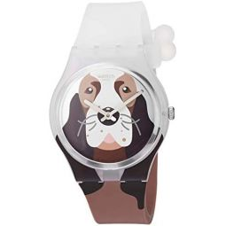 Swatch I Love Your Folk Quartz Silicone Strap, Brown, 16 Casual Watch (Model: GE277): Clothing