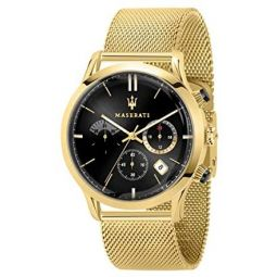 Maserati ricordo Mens Analog Quartz Watch with Stainless Steel Gold Plated Bracelet R8873633003