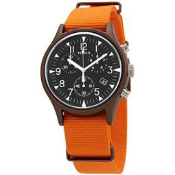 Timex Chronograph Quartz Black Dial Orange Fabric Mens Watch TW2T10600