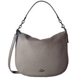 COACH Polished Pebbled Leather Chelsea 32 Hobo Dk/Heather Grey One Size