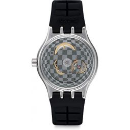 Swatch Mens Stainless Steel Quartz Watch with Rubber Strap, Black, 24 (Model: YIS419): Clothing