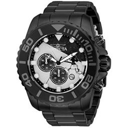 Invicta Mens 50mm Disney Mickey Limited Edition Quartz Watch with Stainless Steel Strap, Black-32444