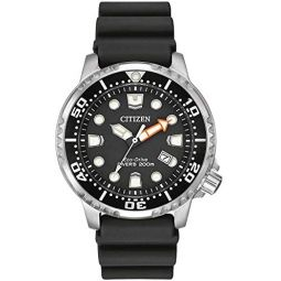 Citizen Watch Promaster Diver Mens Solar Powered Watch with Black Dial Analogue Display and Black Rubber Strap Bn0150-28E