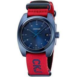 Calvin Klein Jeans Mens Achieve Nato Textile Red Strap Blue Dial Watch